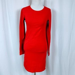 Forever 21 bright red long sleeve dress